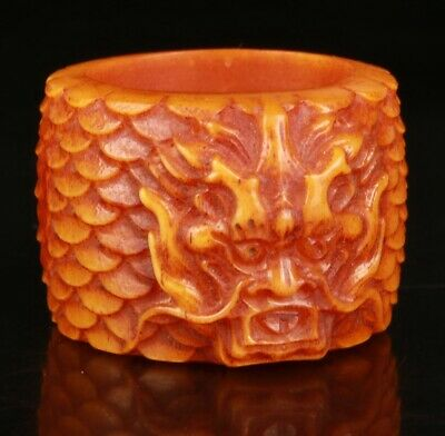 China Cattle Bone Handmade Carving Dragon Ring Jewelry Gift Collection