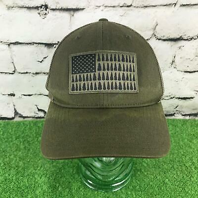 8a8219436cde5 Columbia Sportswear Sz S-M Hat Gray US Flag Trees Fitted Meshback Baseball  Cap
