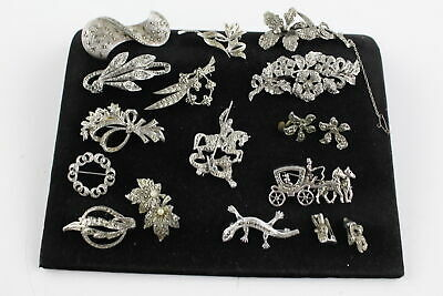 15 x True Vintage MARCASITE JEWELLERY inc. Brooches, Clip On Earrings