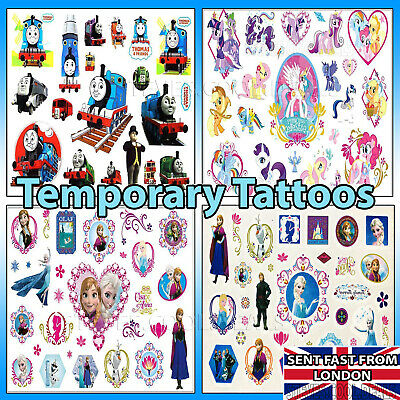 Temporary Tattoos Disney Frozen My Pony Thomas Tank Cute Designs Pack Kid Safe❤️