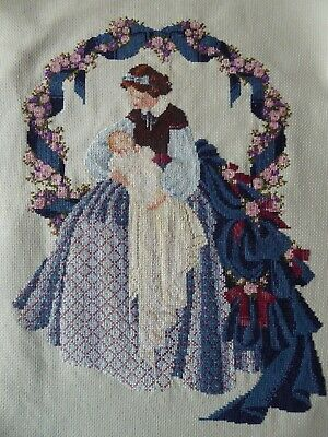 Vintage Hand Embroidered Cross Stitch Picture - Crinoline Lady With Baby
