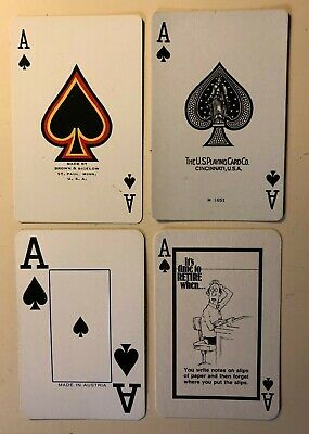 4 Vintage Playing Cards ~ AAA/Henri Matisse/Retirement/Boy ~ All Ace of Spades
