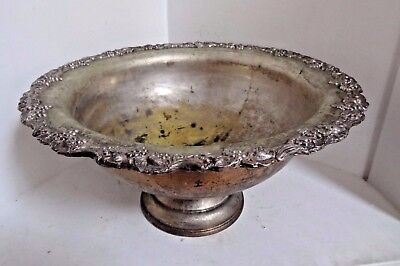 Large Wash Basin Metal / Silver Plated - Grape Design - Very Nice!!!