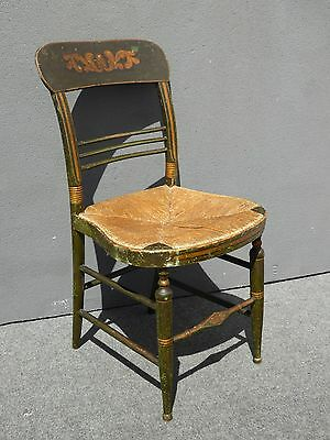 Vintage French Country Dark Green & Gold Rush Seat Accent Chair Farmhouse Chic
