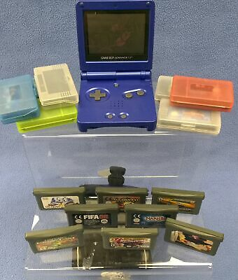 Gameboy Advance SP BLue No Charger 15 Games Including Aladdin UNTESTED #814