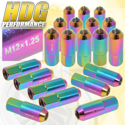 For Nissan 20 Pcs 60Mm M12 X 1.25 Neo Chrome Extended Heavy Duty Steel Lug Nuts