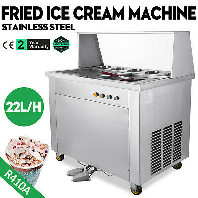 Stainless Fried Ice Cream Maker Machine with Dust Cover 2 Pan 5 Buckets 1060w