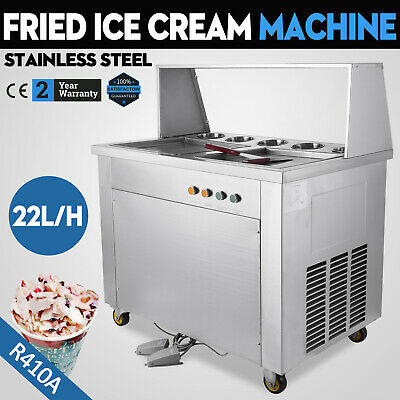 Double Square Pan Fried Ice Cream Machine Defrost Ice Yogurt Roller Maker R410A