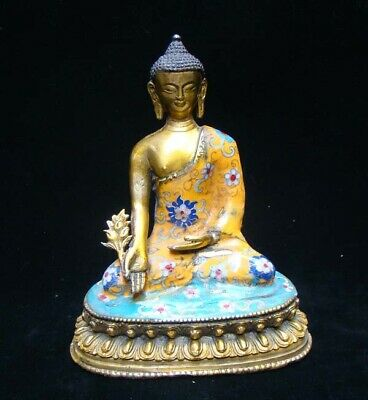205mm  Handmade Carving Statue Buddha Copper Brass Cloisonne Enamel Religion