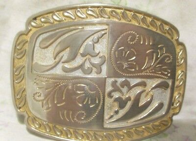 Vintage Belt Buckle With Design Silver And Gold Colored Nice