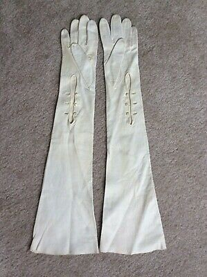 "21"" LONG VINTAGE white KID LEATHER OPERA GLOVES antique 50's 3 Button France"