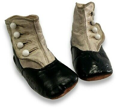 26f405c9601e0 VTG. ANTIQUE VICTORIAN Baby Shoes Black Leather Mary Jane Child Doll ...