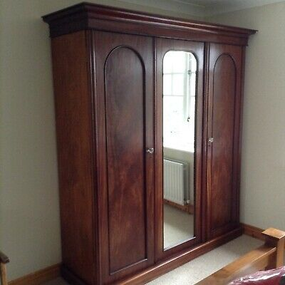 Antique Victorian Mahogany Triple Wardrobe Compactum Mirrored Door