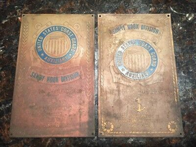 Vintage 1954 & 1955 Coast Guard Sandy Hook Division Participation Brass Plaque