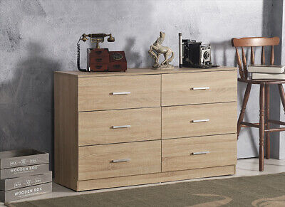 Wide Chest of 6 Drawers Sonoma Oak Bedroom Storage Drawers Metal Runners