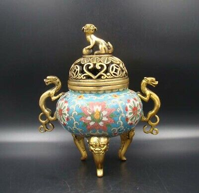 """Collectible Handmade Carving Brass Cloisonne Enamel Incense Burners 8.26"""""""