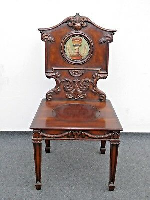 Vintage Federal Style Ornately Carved Solid Wood Griffin Crest Accent Chair