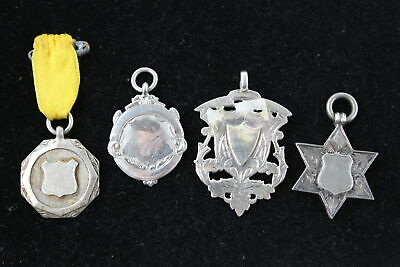 4 x True Vintage .925 Sterling Silver FOBS inc. Antique, Blank (35g)