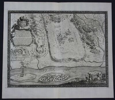1696 Tczew Dirschau battle polish Poland Polska Polen engraving map Pufendorf