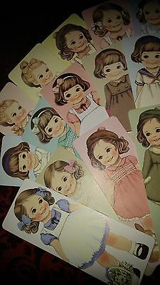 *Party Favors* Loose Vintage Girl Doll HQ Paper Bookmarks/ Greeting Cards 30pcs