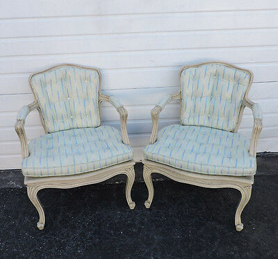 French Distressed Painted Caning Pair of Living Bed Room Side Chairs 8373