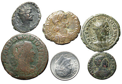 GROUP LOT of 5 Roman Bronze Coins Size 17 to 29mm CERTIFIED AUTHENTIC Some Nice