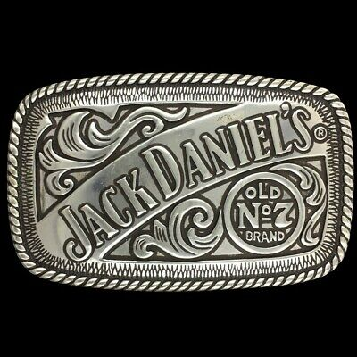 Vtg Jack Daniels Old No 7 Brand Whiskey Liquor Belt Buckle