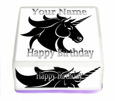 Unicorn Edible Cake Topper Square Rice Paper or Icing, Personal.83