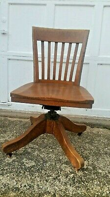 Oak DESK CHAIR antique SWIVEL mechanical ADJUSTABLE office SHIPPING AVAILABLE