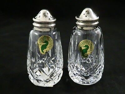 Waterford Crystal Salt Pepper Shakers Lismore Stainless Steel tops new stickers