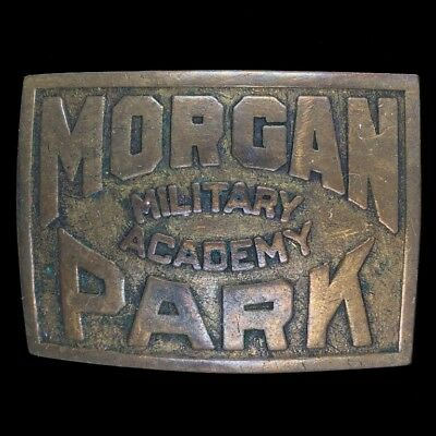 Vtg Morgan Park Military Academy Antique Mpma HS Uniform Brass 40s Belt Buckle