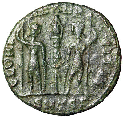 "WAR TYPE Roman Bronze Coin of Constans I From Thessalonica ""Soldiers, Hoplites"""