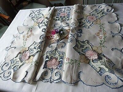 Vintage Hand Embroidered Tablecloth/ Exquisite Delicate Florals And Openwork