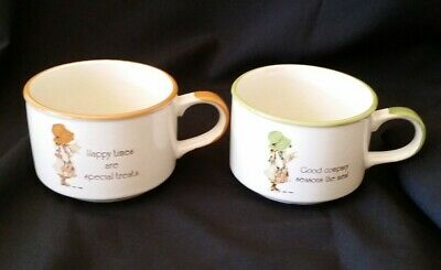 Vintage Hollie Hobbie Soup Cups 1981 x Two with different messages