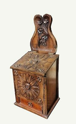 Vintage Ornate Floral Motif Carved Wood Storage / Trinket Box / Flour Box