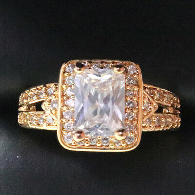 Large 4 Ct Diamond Ring Emerald Cut Yellow Gold Plated Jewelry Sizable R6223