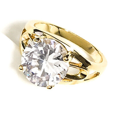 4 Ct Round Solitaire Diamond Wedding Ring Yellow Gold Plated Size 6  R612