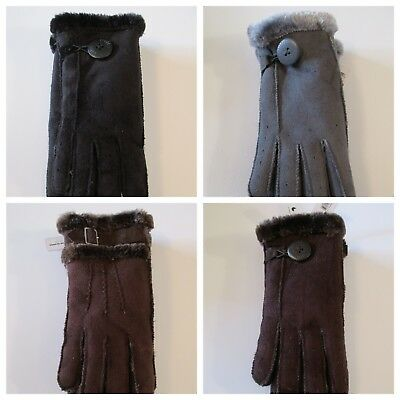 New Women's TRUFIT Faux Suede Leather Fur Insulated Winter Gloves~One Size M-L