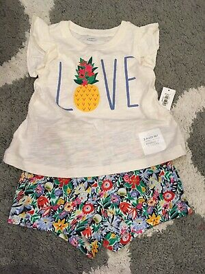 NWT 2pc Old Navy Love Top & Floral Shorts Outfit sz 12-18 Months