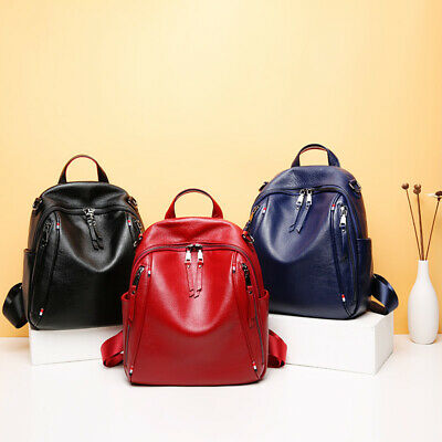 Natural 100% Genuine Cow Leather Double Zipper Womens Backpack Cowhide Bags QU