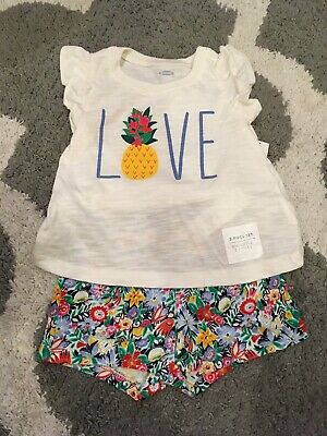 NWT 2pc Old Navy Love Top & Floral Shorts Outfit sz 6-12 Months