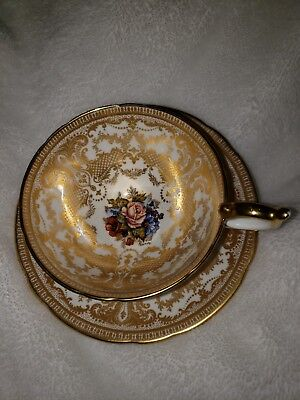 ----AYNSLEY-ENGLAND-HANDPAINTED  CUP and SAUCER with PINK ROSEs and GOLD