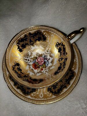 ----AYNSLEY-ENGLAND-HANDPAINTED  CUP and SAUCER with PINK ROSEs and GOLD-----