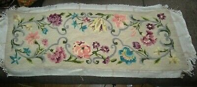 """Reclaimed Vintage Completed Needlepoint Tapestry Stool Top  34 1/2"""" x 12 1/2"""""""