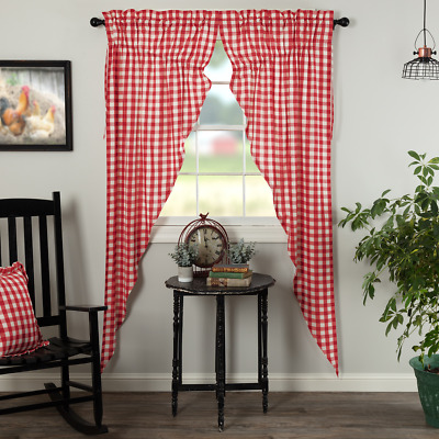 Annie Buffalo Red Check Cotton Country Cottage Chic Window Long Prairie Curtains