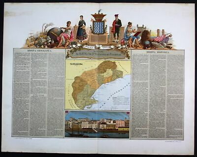 1870 Tarragona Espana Spain Spanien map Karte carta Lithographie Litho Chromo