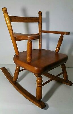 Vintage Wooden Small Child/Doll/Kids Rocking Arm Chair