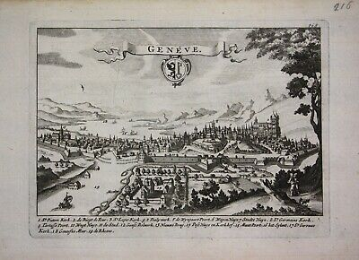 1735 - Genf Geneve view veduta vue gravure engraving Ratelband map carte