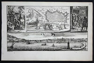 1735 - Barcelona panorama view Spain Espana grabado engraving Ratelband map