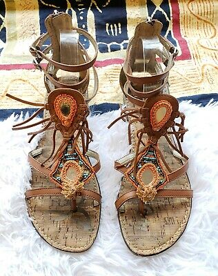 c4f215e8f0ed SAM EDELMAN GENESEE Fringe Leather Gladiator Sandals Size 9 -  20.00 ...